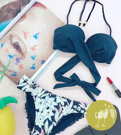 Solid × pencil lily クロスワイヤー フラワー ビキニ</span>