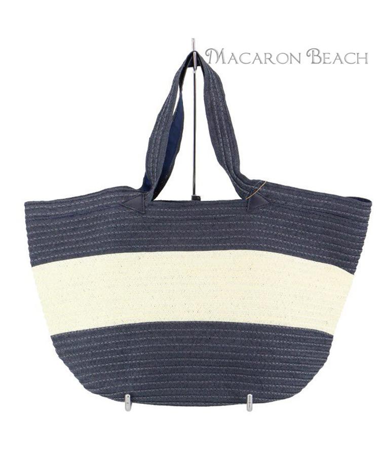 【MACARON BEACH】ペーパーテープ配色 トート
