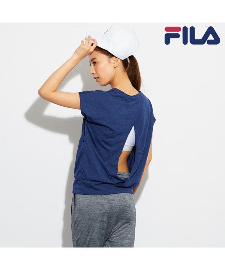 【FILA】バックスリット入りTシャツ&ブラトップセット  M/L/LL