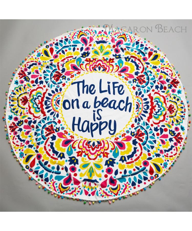 【MACARON BEACH】ボンボン付きサークルビーチ タオル