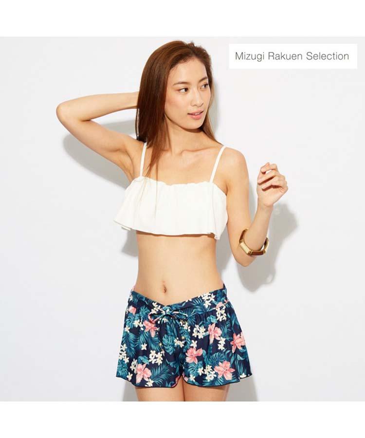 【Mizugi Rakuen Selection】無地フリル×ハイビスカス 3点セット水着 9号/11号