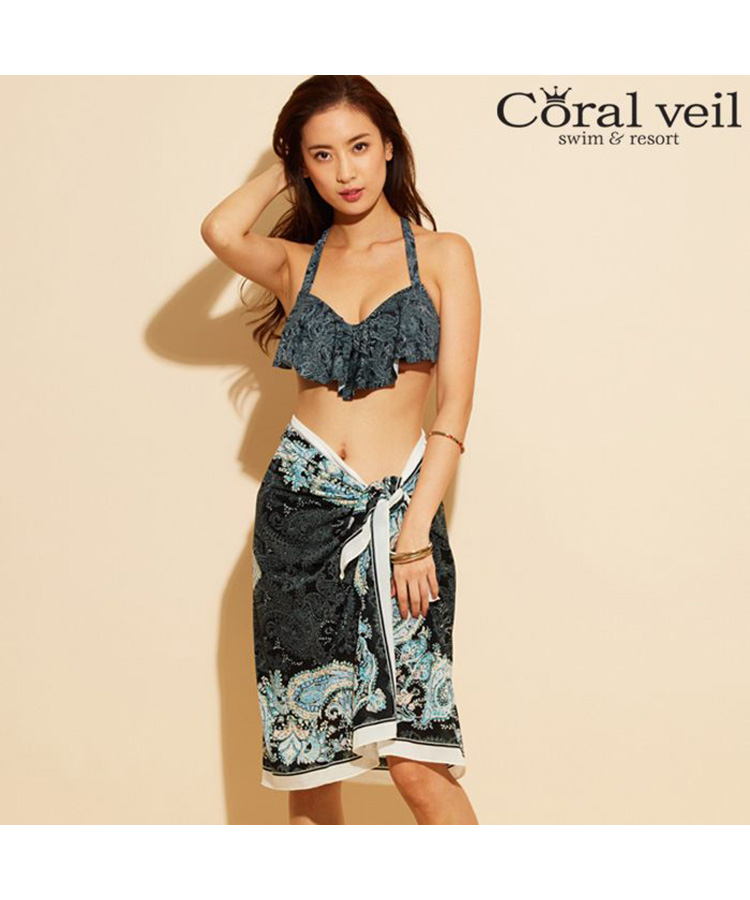 【2018年新作】【Coral veil 】Line Paisely ラインペイズリー ワイヤー 3点セット水着 9号/11号