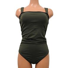 【ELLE×Reirコラボ】【Reir Beach】JERSEY LOMELLINA Neir 巾着・付け替えストラップ付き ワンピース水着 SM/ML|カーキ